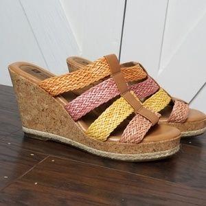 White Mountain Woven Strap Wedge Heel Sandals Sz 8
